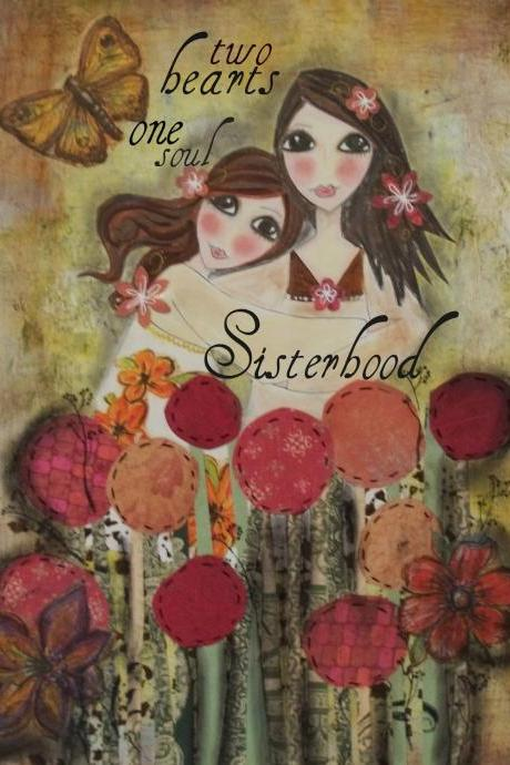 Two HEARTs SISTERS 5x7 ART CARD Print
