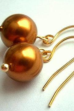 Pearl Earrings In Gold With Copper Swarovski Crystal Pearls