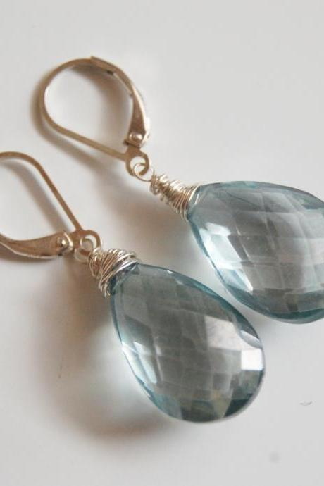 Gorgeous Teal Blue Moss Aquamarine Quartz Faceted Pear Briolettes Dangle Earrings