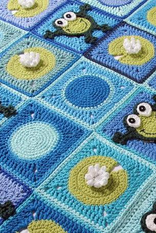 Crochet Frog and Lilly Pad Afghan-Blanket