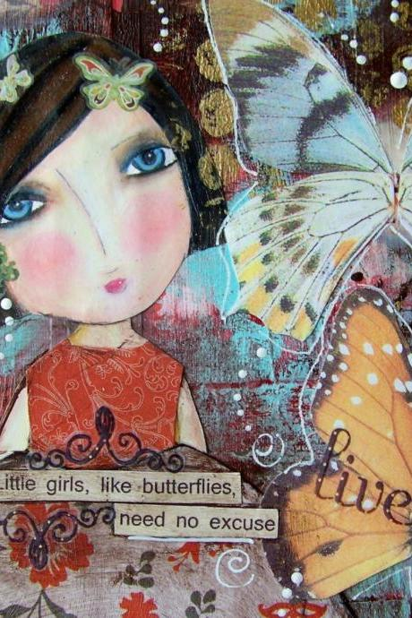 Little girls are like BUTTERFLIES 5x7 CARD with art print
