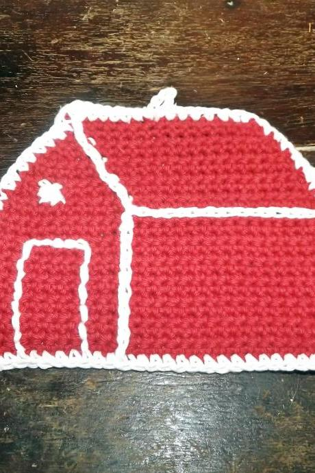 Vintage look cottage dish cloth, red and white