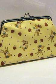 Little deer with mushrooms frame pouch - Yellow frame purse