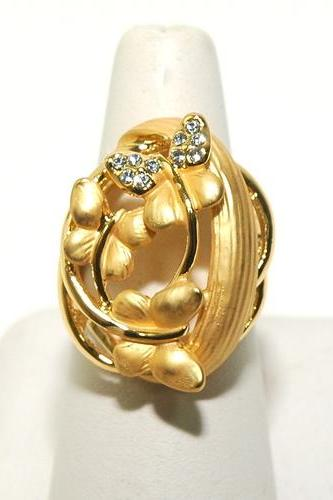18K GP Swarovski Butterfly Ring size 7 1/2