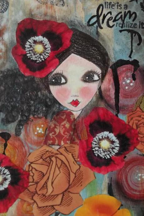 red poppy DREAM print