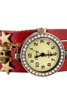 Red/black 2colors skull with heart watch