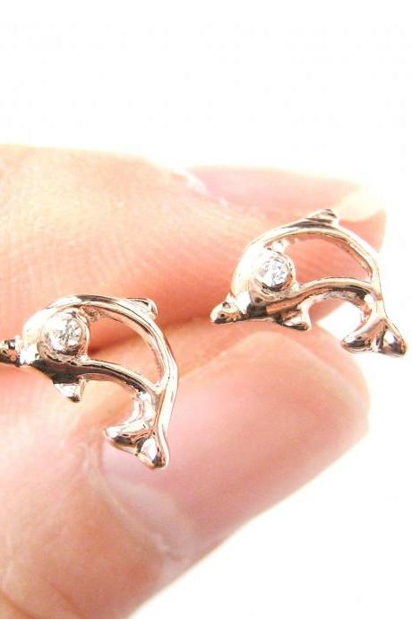 Small Dolphin Shaped Sea Creature Stud Earrings in Rose Gold