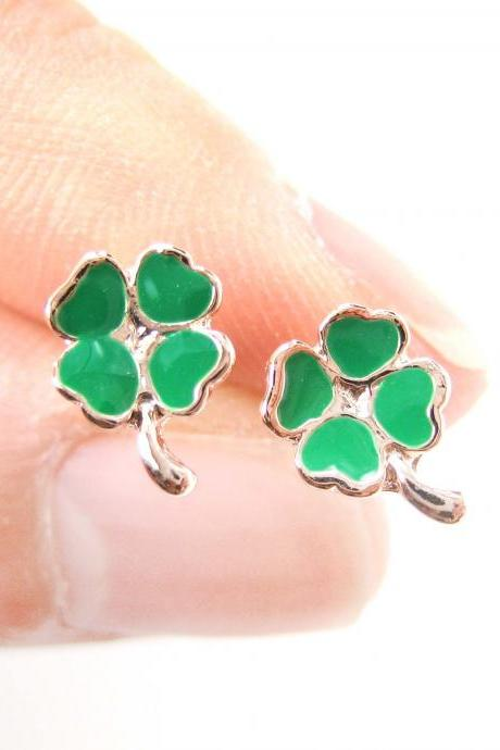 Small Four Leaf Clover Shaped Stud Earrings in Green and Rose Gold