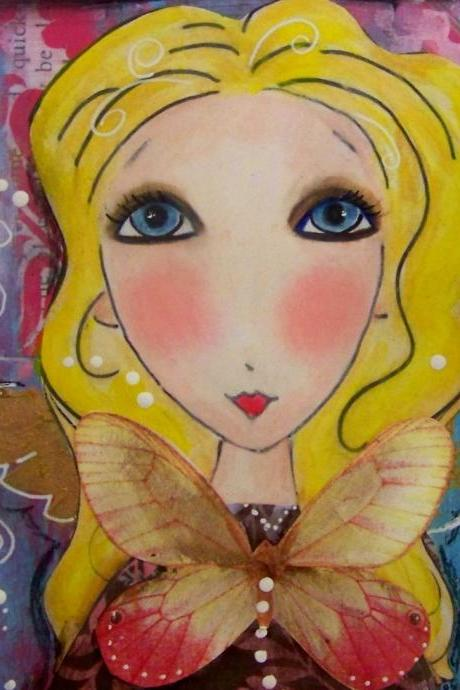 Angel Fairy 5x7 art print card Blonde blue eyes