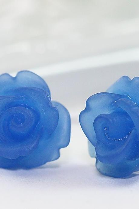 Frosted Dark Blue Rose Ear Posts, Bridal Jewelry, Bridesmaids Gift, Flowergirls Gift