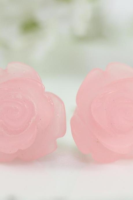 Frosted Light Pink Rose Ear Posts, Bridal Jewelry, Bridesmaids Gift, Flowergirls Gift
