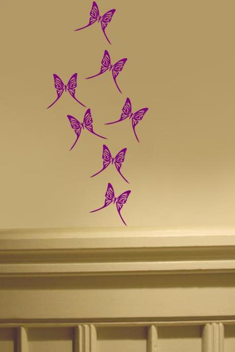Seven Butterflies New Wall / Car Art Decal Stickers Nursery - Butterfly Imagination