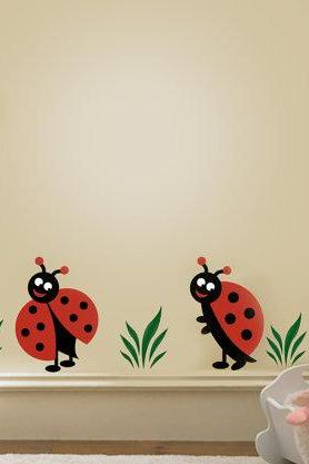Two Lady Bug, Ladybugs Vinyl Decal, Children Wall Decals for Nursery and Girls Room
