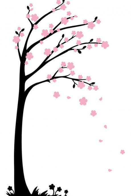 Blooms Tree Wall Decals Sticker Home Nursery Decor Four Styles Wall Art