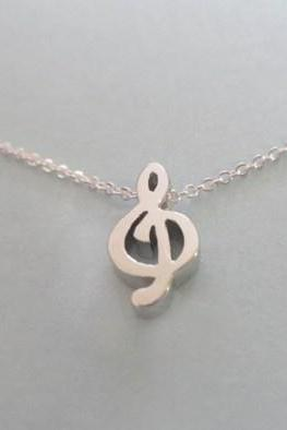 cute g clef music lovers sterling silver necklace