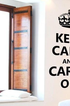 Wall Decal Quotes - Keep Calm and Carry On Wall Decal Vinyl Wall Art by Elly Studio