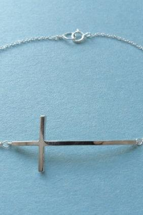 Chic Sleek Curve, Sideway Cross, Sterling Silver chain, Bracelet