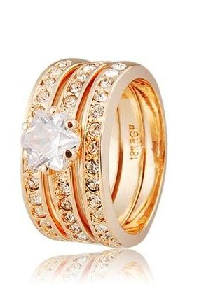 Silver/gold 2colors ring 3-piece 18K RGP SIZE 9
