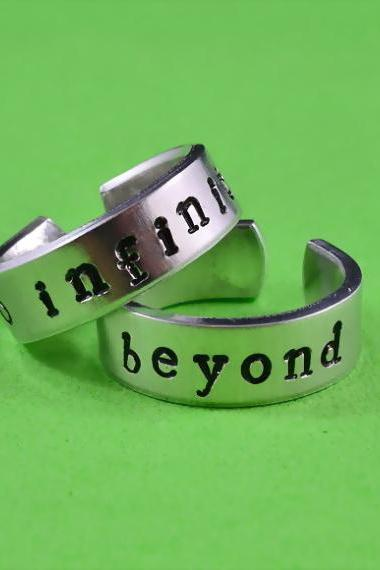 to infinity and beyond - Hand Stamped, Couples, Best Friends, Pure Aluminum, Skinny, Shiny, Newsprint Font
