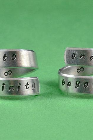 to infinity and beyond -Spiral Rings Set, Hand stamped, Handwritten Font, Shiny Aluminum, Forever Love, Friendship