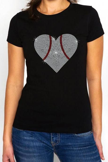 Baseball Heart Rhinestone Shirt