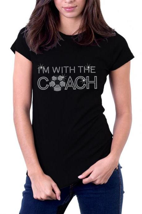 I'm With the Coach Soccer Rhinestone Shirt