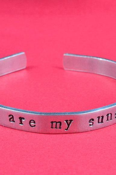 you are my sunshine - Hand Stamped Aluminum Bangle Bracelet, Adjustable Skinny Bracelet
