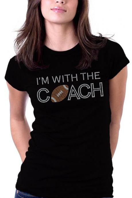 I'm With the Coach Football Rhinestone Shirt