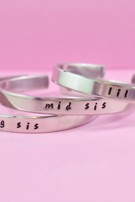 big sis / mid sis / lil sis - Hand Stamped Aluminum Cuff Bracelets Set, Handwritten Font, Forever Love, Friendship, BFF