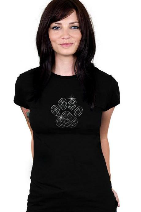 Custom Personalized Paw Rhinestone Shirt
