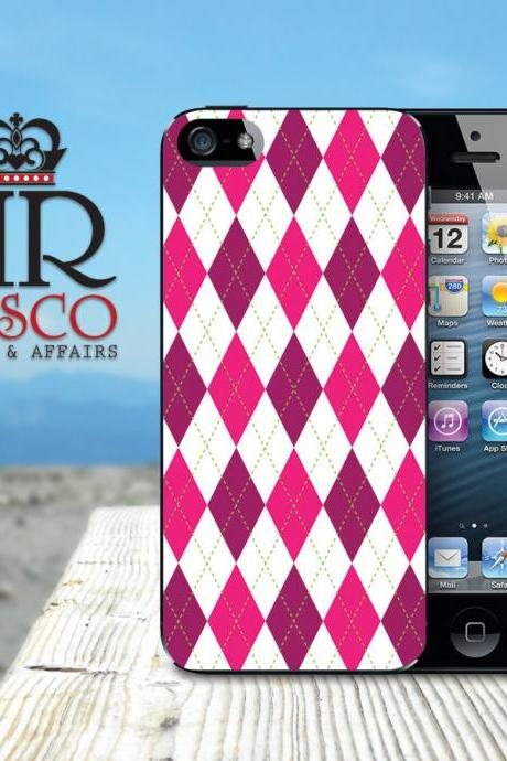 Personalized iPhone Case, iPhone Case, Custom iPhone Case, iPhone 5 Case, Argyle iPhone Case
