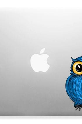 Cute Hoot Owl in Blue Apple Macbook Air Decal Sticker Laptop Full Color Kids, Nursery