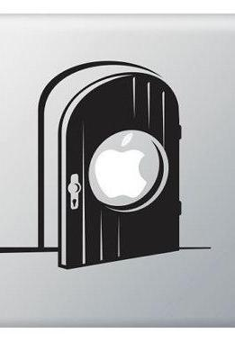 Apple Door, Gate Vinyl Decal ideal for Macbook, Macbook Pro, IPad, Laptops, Car and more