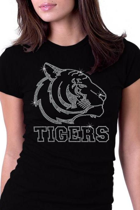 Tigers Jersey Sports Rhinestone Shirt