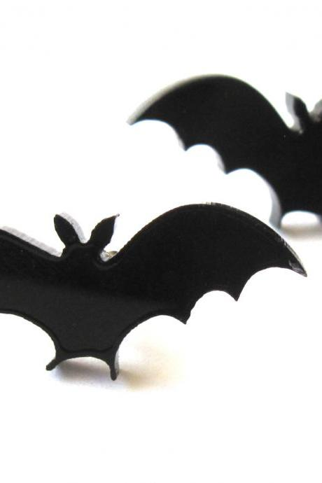 Baronyka Sweet Little Bat Stud Earrings - Bat Jewelry - Nature Jewelry - Animal Jewelry - Black Jewelry - Cute Jewelry - Gift For Her