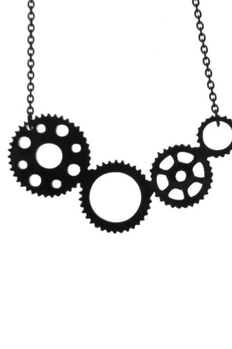 Industrial Steampunk Gear necklace - Steampunk Jewelry - Minimalist Jewelry - Geometric Jewelry - Circle Jewelry - Gift For Her