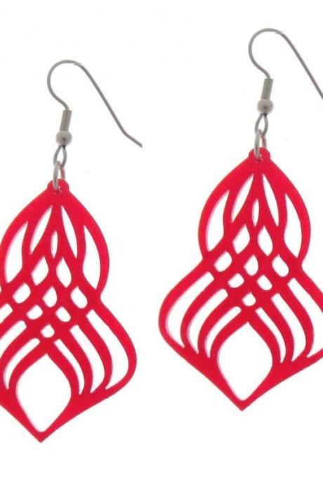 Gorgeous Red Spiral Earrings - Spiral Jewelry - Swirl Jewelry - Everyday Jewelry - Casual Jewelry - Gift For Her - Red Jewelry - Fun Jewelr