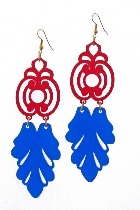 Red And Blue Florentine Earrings - Prom Jewelry - Prom Earrings - Bridesmade Jewelry - Bridesmade Gift - Party Jewelry - Wedding Jewelry