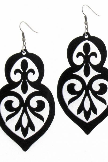 Baronyka Long Black Anouk Earrings - Party Jewelry - Party Earrings - Bridesmade Jewelry - Bridesmade Earrings - Floral Jewelry