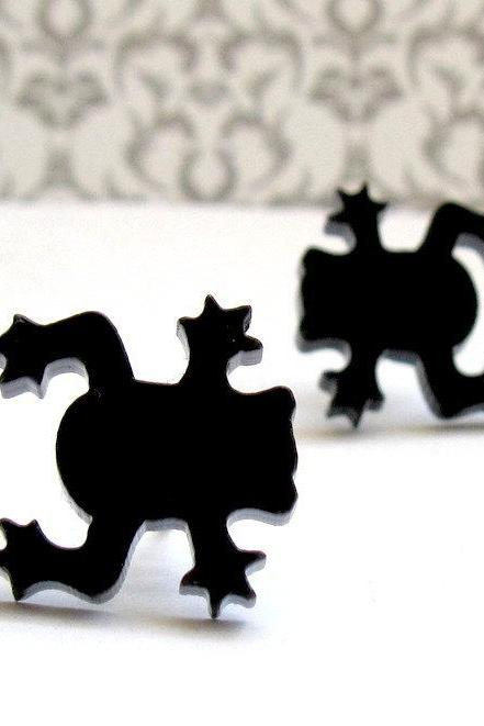 Baronyka Little Sweet Frog Stud Earrings -Frog Jewelry - Nature Jewelry - Animal Jewelry - Black Jewelry - Cute Jewelry - Gift For Her