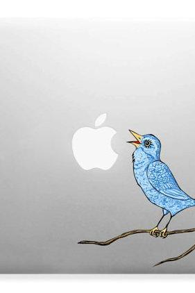 Singing Bluebird, Bird Art Decor Apple Laptop Wall Paper Sticker Decal Full Color