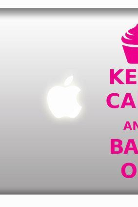 Keep Calm and Bake On - cupcake design stickers macbook laptops ipad or car decals