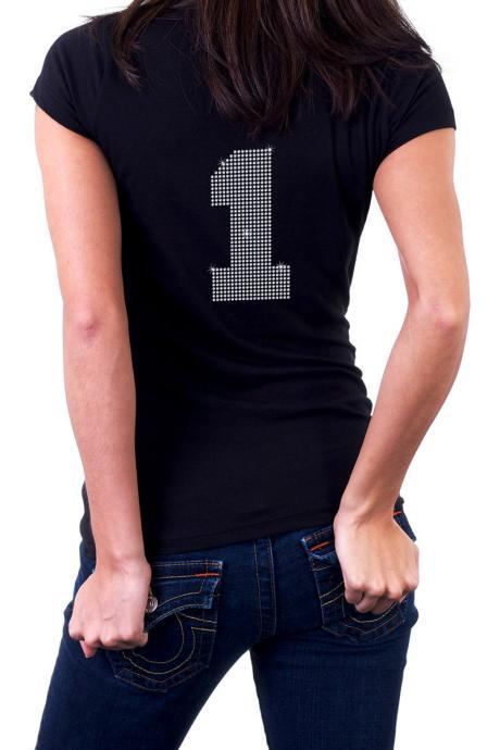 Custom Personalized Sports Jersey Number Rhinestone Shirt
