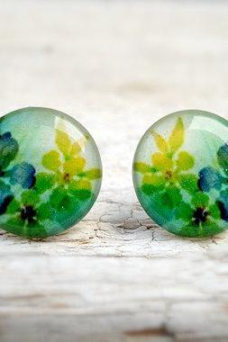 Watercolor Flower Earrings, Green Yellow Nature, Summer Time