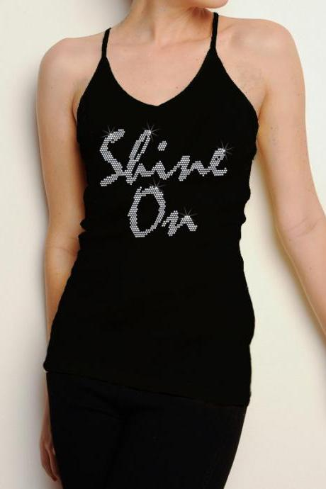 Shine On Rhinestone Shirt Tank Top