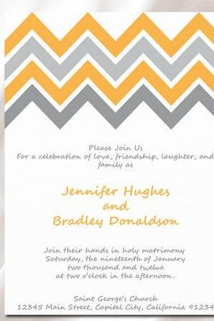 Calm Direction Chevron Wedding Invitation
