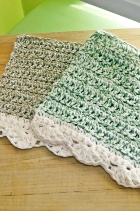 Crochet Dish Cloths in green and cream, vintage doily inspired