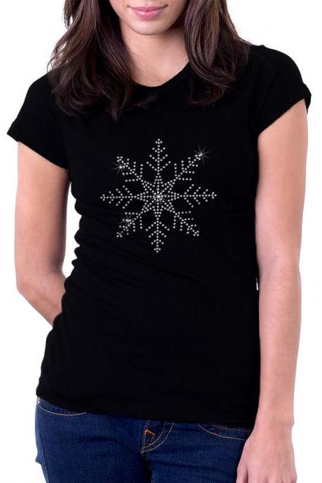 Custom Personalized Snowflake Rhinestone Shirt