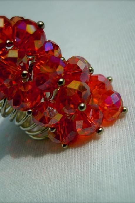 Red Fire Polished Swarovski Rondelle Cluster Ring