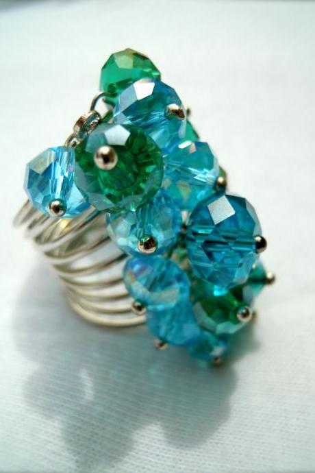 Blue & Green Fire Polished Swarovski Rondelle Cluster Ring